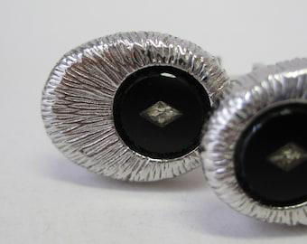 Black Silver Cuff Links Vintage Clear