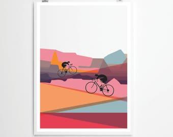 Cycling Art / Bicycle Print /  Giclee Cycling Print / Up, Up & Away