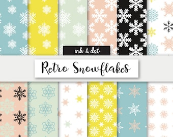 Retro Snowflakes Patterned Digital Paper - Holidays, Christmas, Snow, Yule Scrapbooking Papers, 12x12 paper patterns - Instant Download