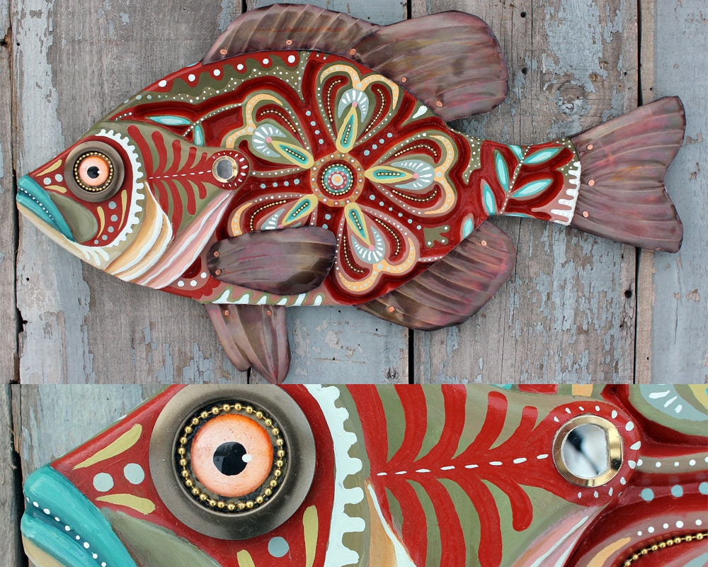 27 Colorful Folk Art Sunfish, Large fish wall art, Cabin decor, wood ...
