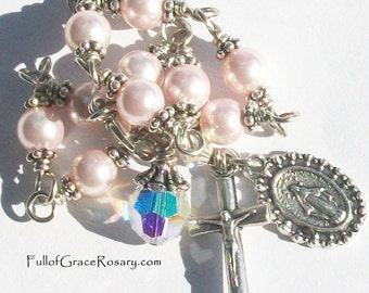 Girl's Pink Rosary Bracelet Light Pink Swarovski Crystal Pearls Unbreakable