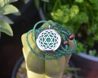 Anahata,Heart Chakra,Aromatherapy Necklace,gift for her, him,male, woman,partner,birthday, sister, anniversary,Diffuser, Yoga,Essential Oil
