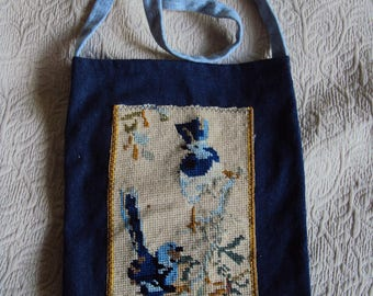 Handmade up cycled recycled denim tote bag with embroidered wren bird design