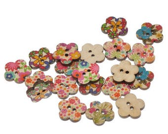 Set of 5 - 15 mm - flower floral theme - 2 holes wood buttons