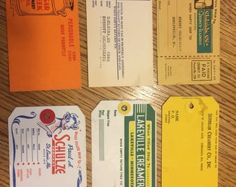 Set of Vintage Cream Can Shipping Labels