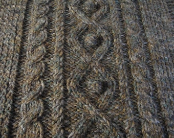 Aran Stitch hand knit throw blanket for chair or wheelchair unique design from Ireland