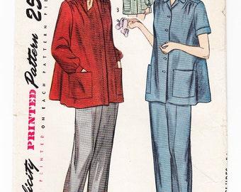 Vintage 1948 Simplicity 2458 Sewing Pattern Maternity Slack Suit Size 12 Bust 30