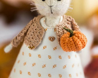 Knitted cat doll Cats lover gift for women Housewarming gift for her White kitten art doll White cat in clothes Plush cat keepsake Knit cats