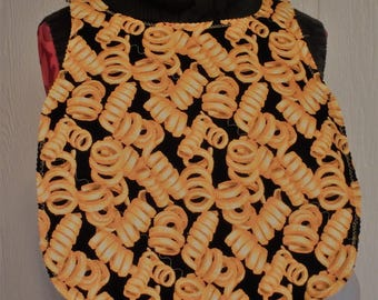 French Fry Adult Bib, Joke Gifts, Gifts for Seniors, Fast Food Gifts, Curly Fries, Reversible Bib, Gifts for Dad, Fathers Day