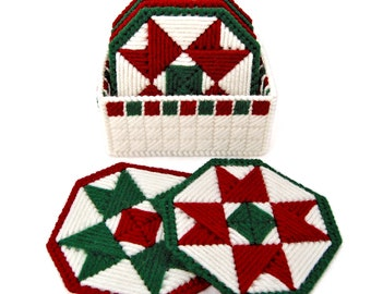 PATTERN: Christmas Quilt Coasters in Plastic Canvas