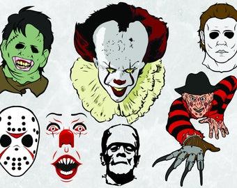 Halloween Horror Pack | SVG Cut Files | Jason Vorhees, Pennywise, Frankenstein, Freddy Kreuger, Michael Myers