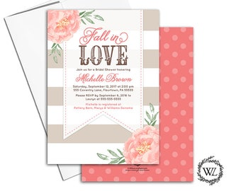 Fall bridal shower invitation rustic | fall in love bridal shower invitation printable or printed, floral, stripe, brown, coral - WLP00653