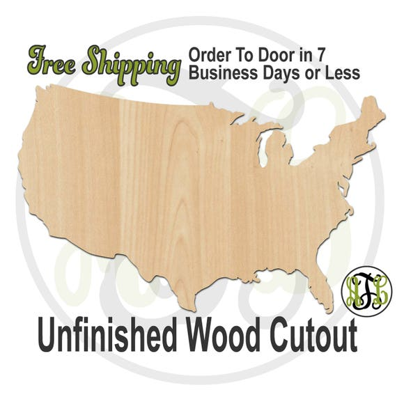 United States- 270051- America Cutout, unfinished, wood cutout, wood craft, laser cut, wood cut out, Door Hanger, United States, wooden, USA