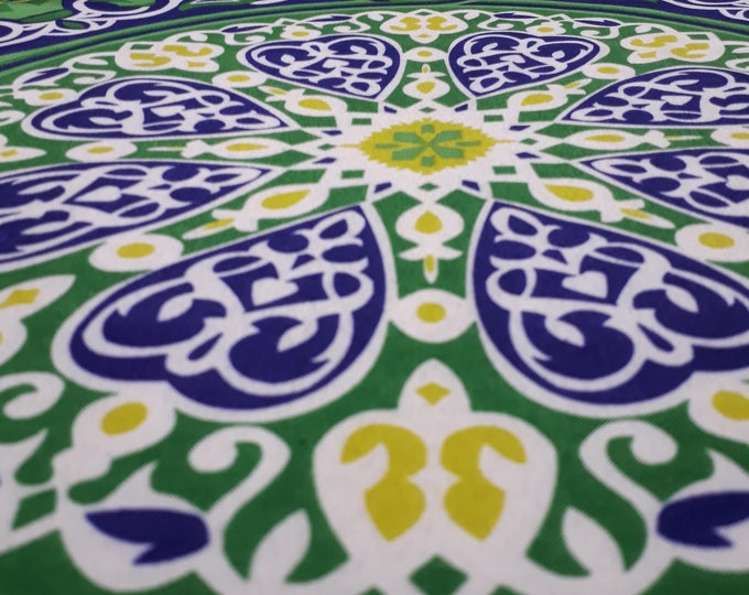 Egyptian fabric in green cotton. Arab mandala for sewing patchwork pattern. Ethnic fabric for making tablecloth and wall hanging