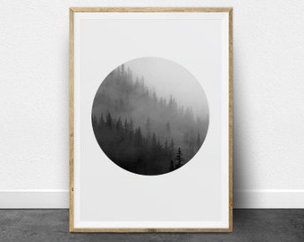 Black and White Photography, Printable Art, Forest, Ombre, Circle Print, Minimalist Art, Printable Wall Decor, Trees Photo, Digital Print