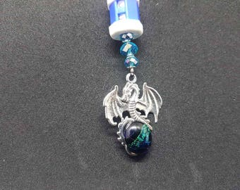 Dragons egg knitting stitch counter with blue beads