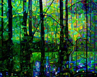 blue green forest silhouette trunks water abstract landscape - Medium Signed Fine Art Giclee Print from my Original Painting - Poolside