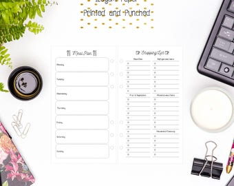 Personal Weekly Meal Plan with Shopping List Inserts for Personal Filofax | Medium Kikki K | Colour Crush and Equivalent Planners