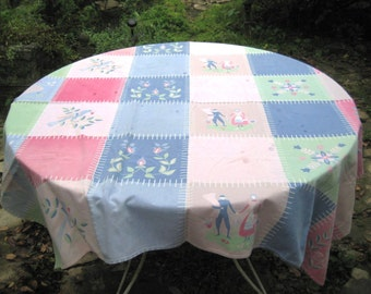 Square patchwork tablecloth, pink, blue green, pastel tablecloth, Amish tablecloth, farmhouse country decor, 50s 60s