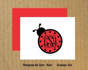 Ladybug Note Cards, Set of 10, Ladybug Monogram Note Cards, Monogram Note Cards, Monogram Thank You Cards, Thank You Cards, Ladybug