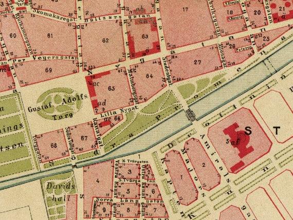Malmo map Karta Malm Old map of Malmo print Premium