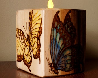 Wood Block Candle Holder, Butterfly Candle Holder, Butterfly Tealight, Spring Decor, Mother's Day Gift