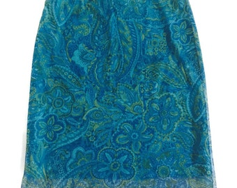 90s Sheer Blue Paisley Print Skirt