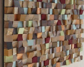 80 x 120 inch - Extra Large Reclaimed Wood wall Art, wood mosaic, geometric art, wood wall art