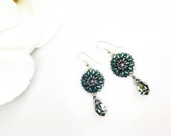 Crystal handmade earrings , pearl earrings, Swarovski earrings