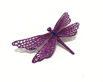 Artificial PURPLE Glitter Dragonfly Embellishment on Clip - Christmas Decorations, Cake Topper, Hair Accessories, Millinery, Wreath