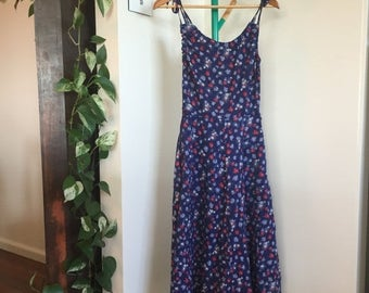 Pretty Vintage Pansy Dress, Cotton, Fully Lined, Buttons, Pockets, Navy, Powder Blue and Red, Size Extra Small XS