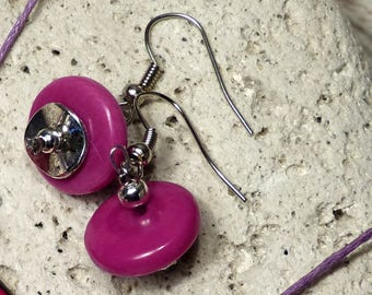 Pink Tagua earrings
