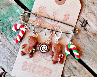 Festive Stitch Markers - Candy Canes, Gingerbreadmen and yule log