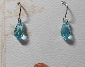 Sterling Silver Light and Delicate Topaz Blue Crystal Earrings Swarovski