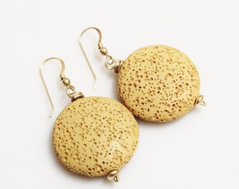 Mustard Lava Earrings, Yellow Beaded Earrings, Gifts Under 20,  Unique Earrings, Lava Jewelry, Gift Ideas For Her