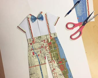 "CUSTOM Suspender & Bow Tie Folded Paper Wall Art - 18"" x 24"" - Choose your map! - Nursery Wall Decor Art"
