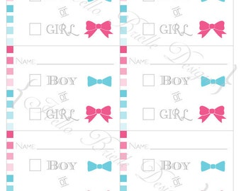 Ombre Gender Reveal Party Printable Voting Ballot - Instant Digital Download