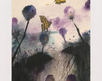 Abstract Thistles and Butterflies
