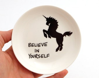 Unicorn ring holder, trinket dish with unicorn, Believe in yourself, encouragement, friendship, gifts under 10, upcycled ring dish