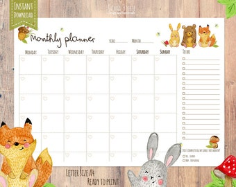 monthly planner printable calendar, a4 letter, instant download, woodland animals, kids calendar, blank calendar, office undated planner