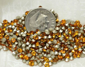 Swarovski Chaton Cut Rhinestones PP21 Topaz Pointed Back Foiled 24 pcs Crystal Clay Jewelry Making Article 1012 First Quality Gold