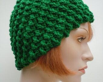 Kelly Green Women's Skull Cap - Flapper Hat - Women's Cloche Hat - Crochets Beanie - SHOW