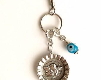 Raphael Angel & Evil Eye Bottle Cap Key Ring