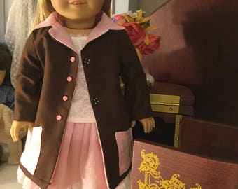 Brown and pink trench coat for American girl size dolls