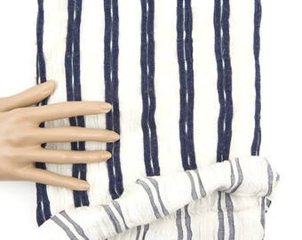 Blue and Cream Gathered Fancy Stripe Woven Fabric 31 inches length Narrow Width ATW00069