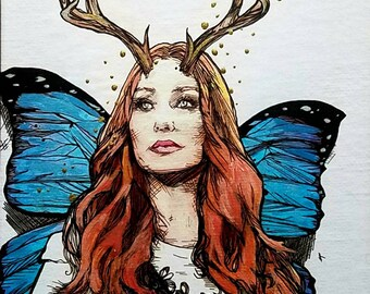 Tori Amos Fairy original giclee print - antlers and blue Morpho butterfly