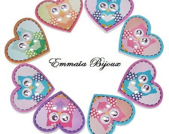 6 nice buttons heart shaped 20 x 24 m