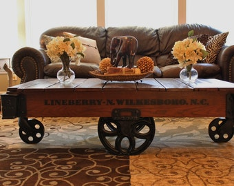 Vintage Restored Lineberry Factory Cart (Daisy Wheel)   Coffee Table