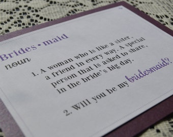 Will You Be My Bridesmaid? Purple layered definition card with envelope