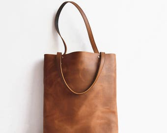 Leather Tote Bag, Market Tote Bags, Slim Leather Shopping Bag, Leather Laptop Bag Women, Black Leather Tote, Shoulder Bag, Leather Bag